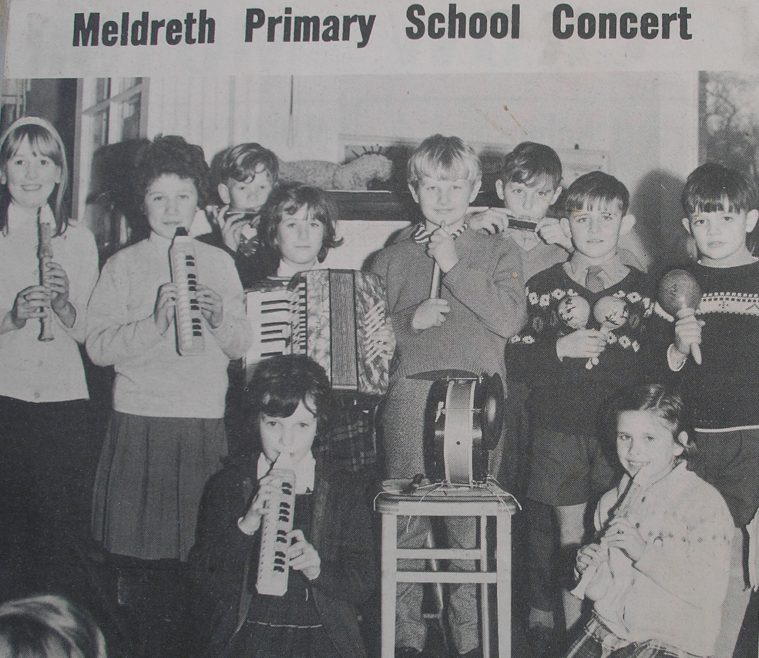 Meldreth School Band, photographed at a concert they gave in December 1965<br>