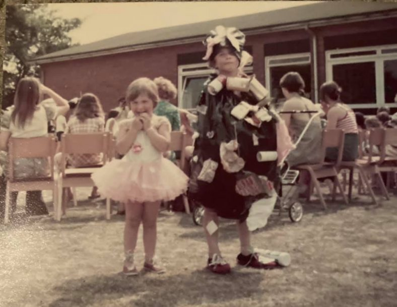 Alan Thomas and Lorraine ? in fancy dress at a Meldreth Primary School fete c. 1978   Photograph supplied by Lindy Thomas