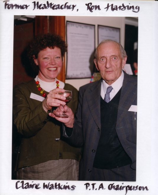 Claire Watkins and Ron Harding   Photograph courtesy of Meldreth Primary School