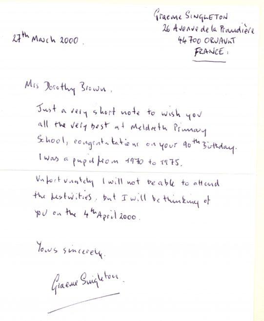 Letter from Graeme Singleton   Photograph courtesy of Meldreth Primary School