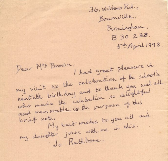 Letter from Jo Rathbone   Photograph courtesy of Meldreth Primary School
