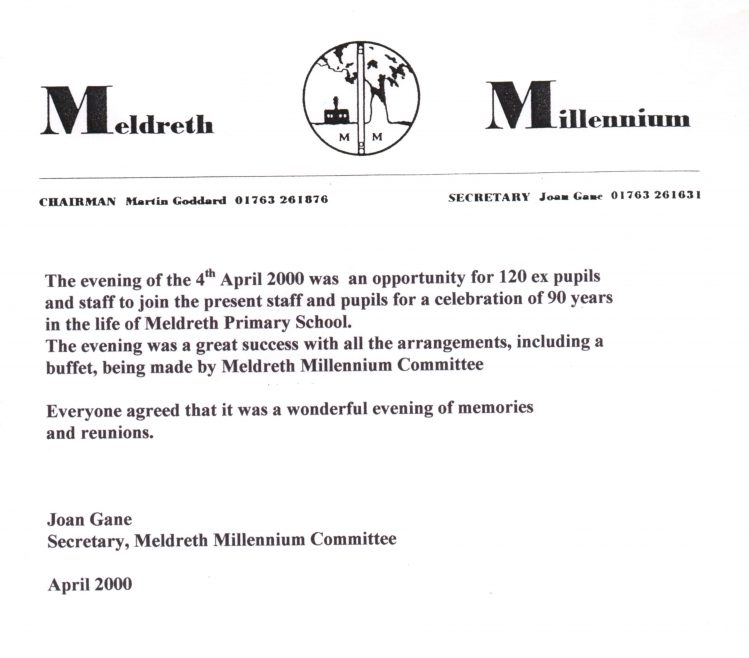 Letter from Meldreth Millennium Committee   Photograph courtesy of Meldreth Primary School
