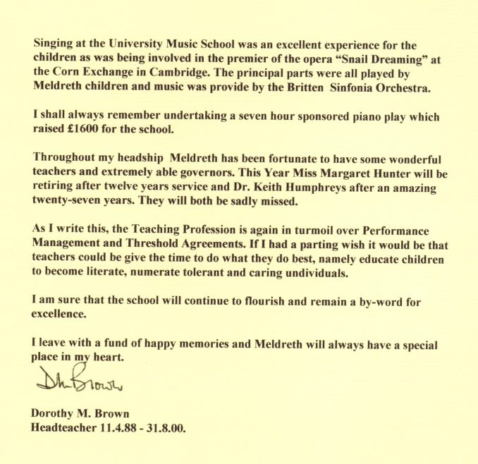 Letter from Dorothy Brown, page 2   Photograph courtesy of Meldreth Primary School