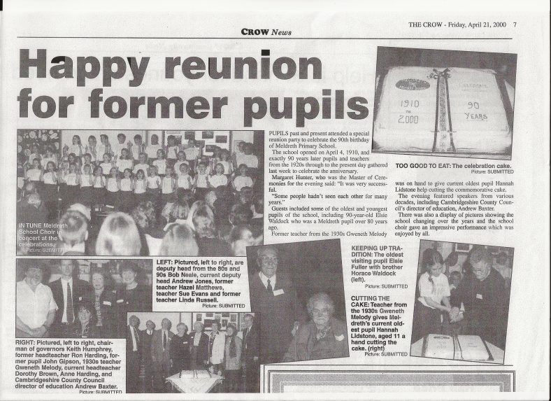 A newspaper report on the reunion   Royston Crow, 21st April 2000