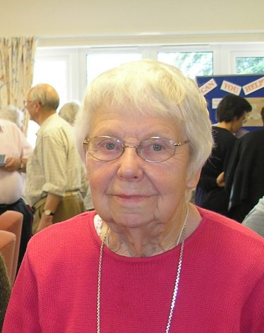 Joyce Howard pictured at a History Group Coffee Morning in July 2007.  Joyce came to Meldreth in 1941 and worked at Chiswick Farm.  She remembered many of the workers and recalled her memories during an interview with Terry Dash in April 2009. <br>You can hear her memories by clicking on the audio clip play button at the top of this page. | Tim Gane