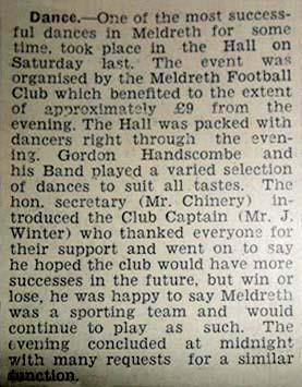 Meldreth Football Club: 1950s