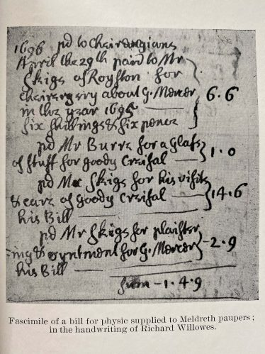 Facsimile of a bill for physic supplied to Meldreth paupers; in the handwriting of Richard Willowes | From Richard Willowes, Vicar of Meldreth by W M Palmer