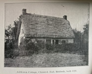 Addlestone Cottage, Chiswick End, Meldreth built 1722 | From Richard Willowes, Vicar of Meldreth by W M Palmer
