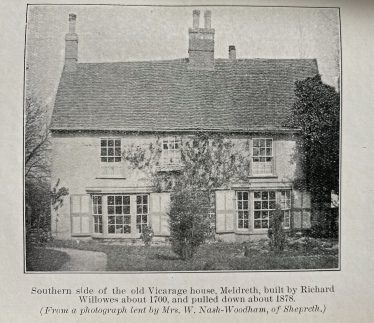Old Vicarage House, Meldreth<br> Southern side of the old Vicarage house, Meldreth, built by Richard Willowes about 1700 and pulled down about 1878 | From Richard Willowes, Vicar of Meldreth by W M Palmer