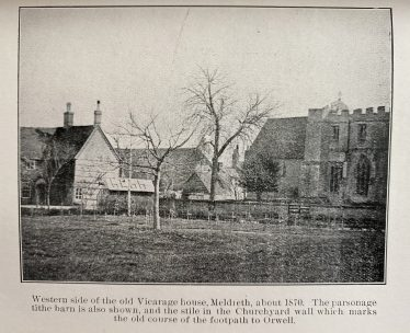 Western side of the old Vicarage House, Meldreth c. 1870<br> The parsonage tithe barn is also shown and the stile in the churchyard wall which marks the old course of the footpath to Orwell. | https://www.meldrethhistory.org.uk/people/individuals-3/richard_willowes