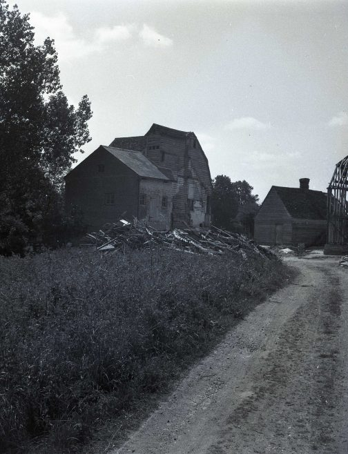 Topcliffe Mill, taken during the conversion of the granary to a house. The timber framed structure of the granary can be clearly seen on the right hand side. The cottage that adjoined the mill (see previous photograph) had been demolished. | E M Gardner, reproduced with kind permission of The Mills Archive Trust