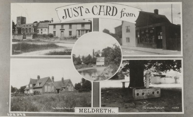 102398  Just a Card from Meldreth<br> Multiview postcard showing Meldreth Church and vicarage (102352), Post Office (102385), The Schools (102359), The Stocks (102365) and Flambards Mill (102368) | Bell's postcard supplied by Mary Findlay