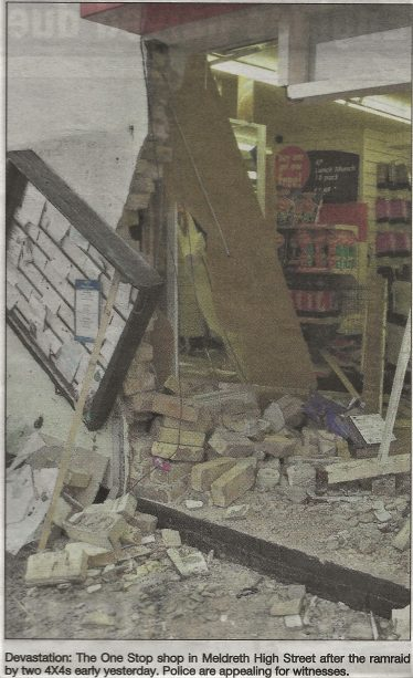 The One Stop Shop in Meldreth High Street after the ramraid by two 4x4s on 19th January 2005   Roger Adams, Cambridge News