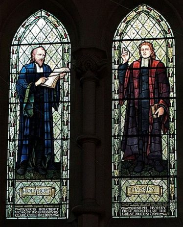 Francis Holcroft, a key figure in the rise of non-conformism in Cambridgeshire, shown on the left. Stained glass window, Emmanuel United Reformed Church, Cambridge | www.downingplaceurc.org