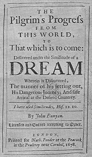 Title page, 'The Pilgrim's Progress', John Bunyan, 1678 | www.britannica.com