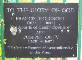 Memorial plaque at Oakington, recognising Joseph Oddy's pioneering role, alongside Francis Holcroft, in Cambridgeshire non-conformism | standrewsoakington.co.uk