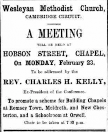 Announcement in the Cambridge Evening News, 19th February, 1903 | Cambridge evening News