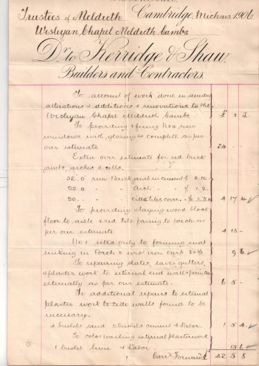 Extract from Kerridge and Shaw's  invoice for the renovation work, 1906   Maurice Prové
