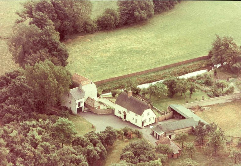 An aerial photograph from 1970 showing the mill, house and remaining outbuildings  | Photograph supplied by Andrew Emerson