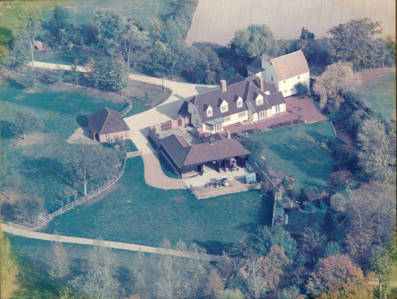 An aerial photograph, taken in 1989 following the completion of the building work organised by Andrew and Valerie Emerson | Photograph supplied by Andrew Emerson