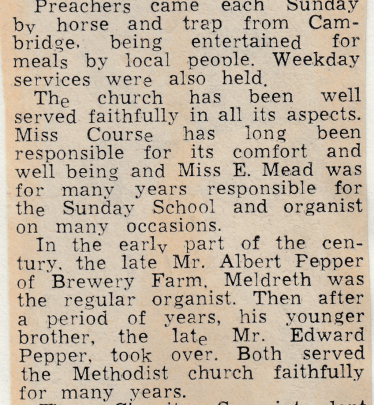 Extract from newspaper article, 18th October 1970, recording 'faithful service' to the Meldreth Wesleyan Methodist Chapel and Sunday School at the time of their closure | Cambridge Independent Press,