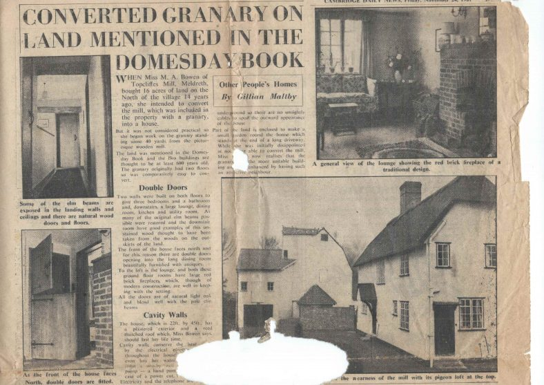 Newspaper Article from the 1960s featuring Topcliffe Mill House | Cambridge Daily News