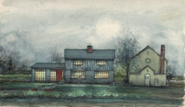 Painting of the Meldreth Wesleyan Chapel and adjoining White Cottages, North End, undated but the scene depicted may date from the early decades of the twentieth century, after the Chapel was renovated in 1906 | Provided by Maurice Prové