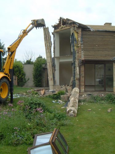 Demolition of the large corner window during the later conversion carried out by Maurice and Christine Prové after they bought the property in 2004   Maurice Prové