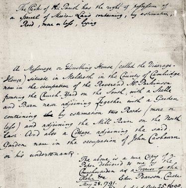 1791 Memo re parish clerk land