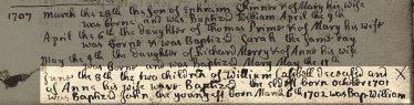 Excerpt from Meldreth Parish Register (Baptism) 1707