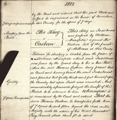Conviction of Thomas Casbon in 1822