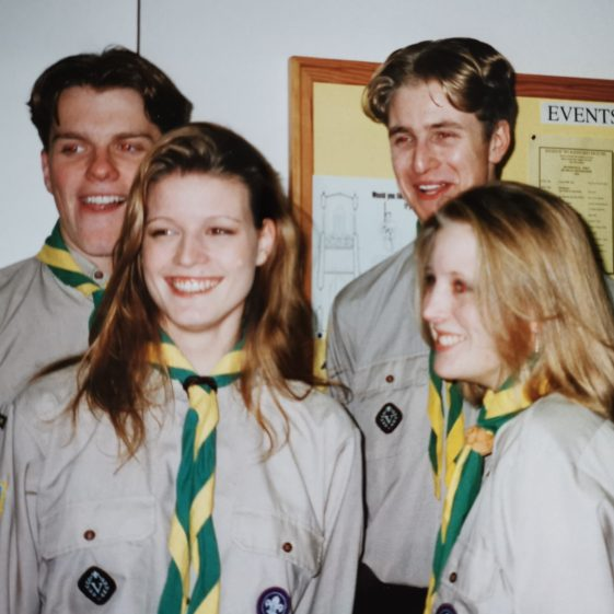 Andrew Penfold  Suzanne Marshall  Andrew Mellor and Elizabeth Greasley. These Venture Scouts were presented with their Queen's Scout award by the Chief Scout at the Guildhall in London in November 1995. | Photograph supplied by Stephen Marshall