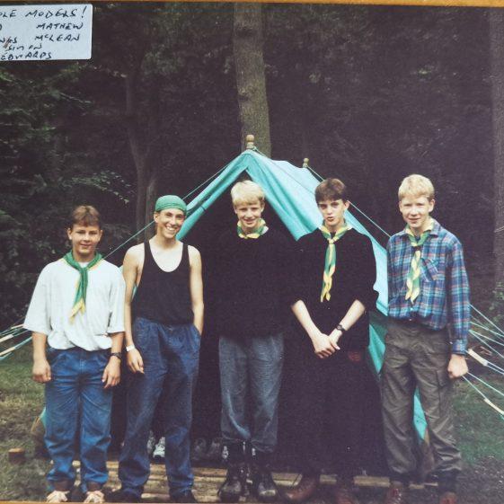 1993 – Patrol Leader role models: Martin Dutton, Warren Mynn, Ben Gillings, Simon Edwards, Mathew McLean | Photograph supplied by Stephen Marshall