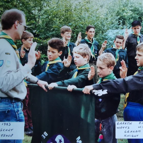 It was always special to be able to enrol new Scouts at camp. Here: Gareth, Graham, Daniel and Philip officially join the troop in 1993 | Photograph supplied by Stephen Marshall