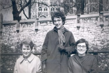 Janice Catley, Pearl King and Sally Dodkin waiting for the 108 bus in Cambridge during the 1960s.  Photograph taken by Lorraine Bradley. | Sally Wright (nee Dodkin)