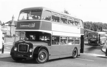This photo is of 1964 Bristol Lodekka, when nearly new, leaving Royston Bus Station. The vehicle is AAH 173B, fleet number LFS 73. When the bus was withdrawn from ECOC  service and became a playbus in Bury St Edmunds. | Thanks to Patrick Burnside for the information
