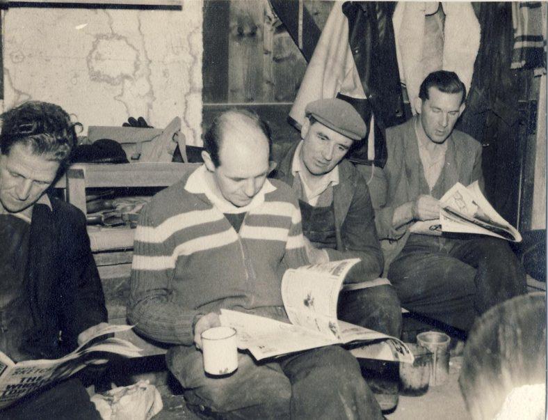 11am Tea Break in the 1950s<br> L to R:  Alfie Day, Don Chinery, George Anderson, Bill Nunn | Bill Nunn