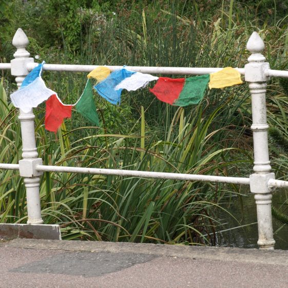 Bridges in Other Cultures: Sheene Mill bridge with prayer flags | Bruce Huett 2018