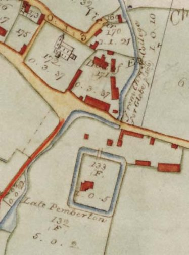 Detail from the 1820 inclosure map showing a building within the moat at Bury Farm | Cambridgeshire Archives