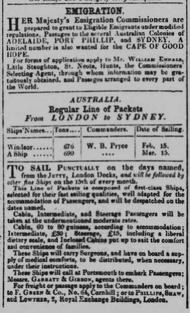 One of many advertisements and articles in the local press regarding emigration to Australia | Cambridge Chronicle and Journal, 18th January 1851