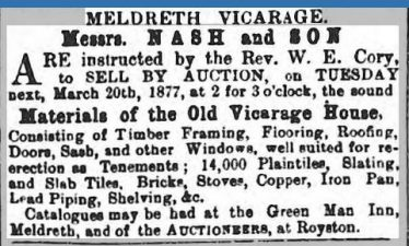 A newspaper advertisement advertising materials for sale from the Old Vicarage House | 3 March 1877
