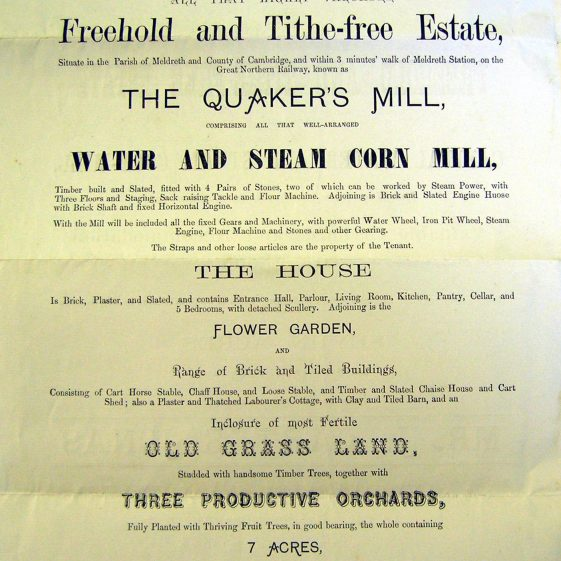 The sale particulars, 1879 | Cambridgeshire Archives.  Ref. 296/SP847