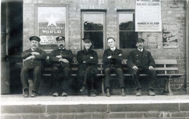 Station staff on Meldreth & Melbourn Railway Station in the 1920s.  From left to right: Mr Allen, Mr Hale, Mr William Vellum, Mr Scott (Station Master) and Leonard Dodkin (clerk). (for more information on this photo please scroll down and click on the document link at the bottom of this page). | Melbourn Magazine, Winter 2002