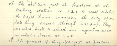 Extract from Meldreth School log book, January 1936 | Photograph courtesy of Meldreth Primary School