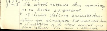 Extract from Meldreth School log book, January 1938 | Photograph courtesy of Meldreth Primary School