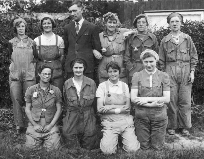 A Group of Workers during the War<br> Back, L to R: Doris____, ________, Jack Myles, Brenda East, Clara Hayes, Mrs ____ Carrington<br> Front, L to R: Joyce Chapman, Mrs Chapman, Joyce Warby, Joan Searle | Dolly Catley