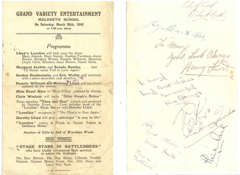The programme for the grand variety entertainment, showing the signatures on the back | Programme supplied by Mary Findlay (nee Adcock)