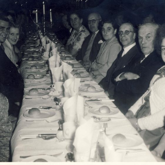Dinner Dance in Royston Town Hall in 1955<br> Left: Brian Whisken____, ____, Shirley Catley<br> Right: ____, ___, Sid Bowens, Alick Newman, Jesse Newman | Christine Keith