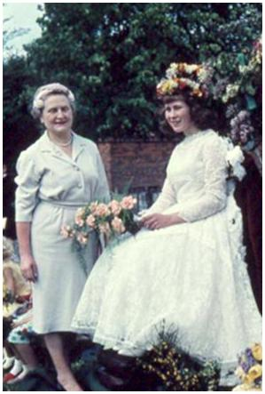 Gillian Fleet is crowned as May Queen by Mrs Hilton | Photograph courtesy of Ann Handscombe