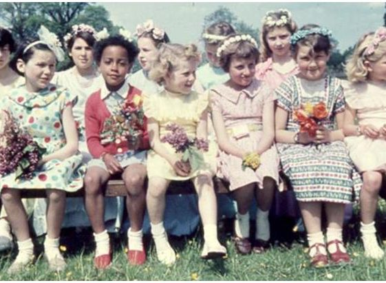 The flower girls.  Pictured on the far right of the back row is Jennifer Holliday. Front row, from left to right: Pat Hollamby, Heather Hunt, Jennifer Goodwin, Edith Chamberlain, Ann Smith, Linda Norton | Photograph courtesy of Ann Handscombe